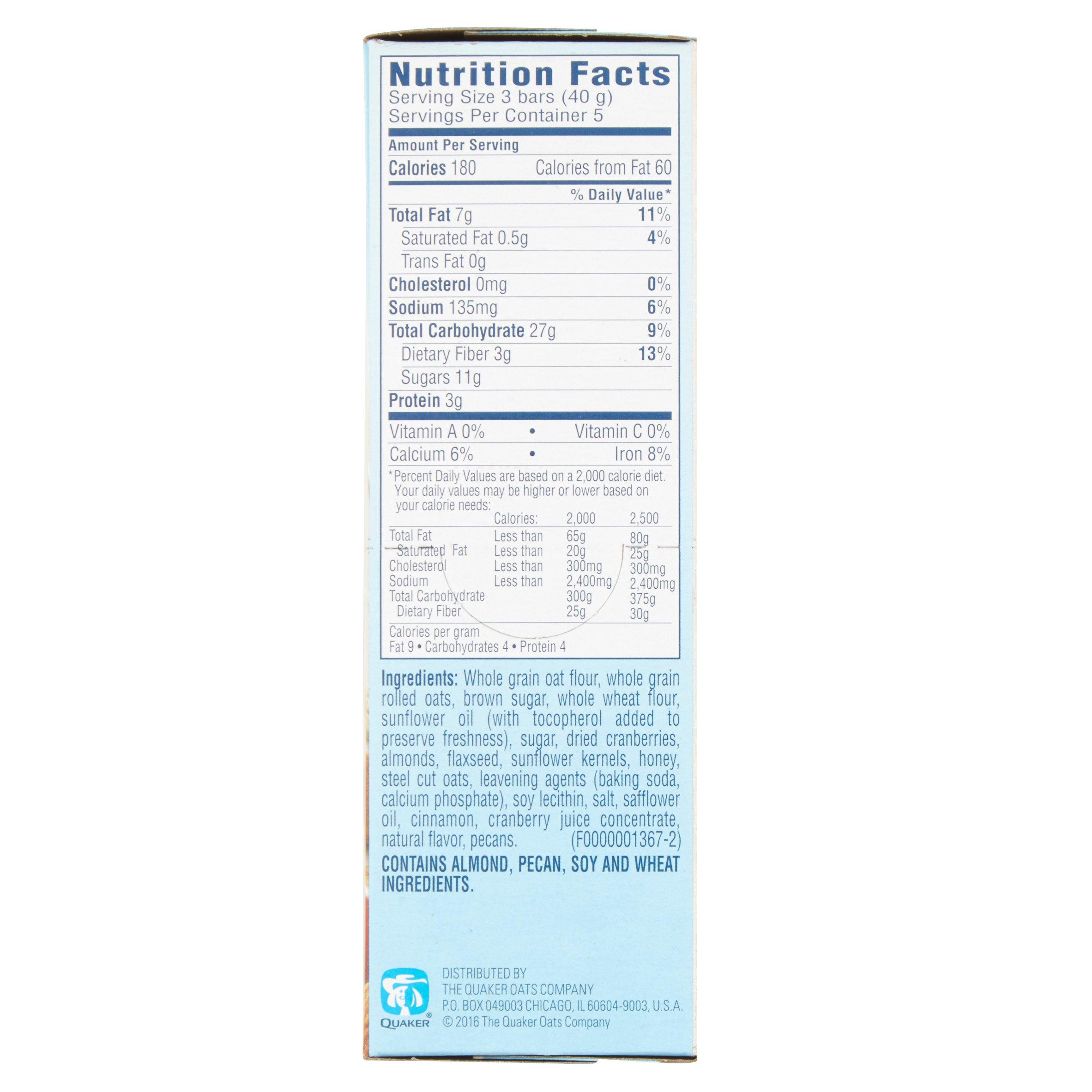quaker oat squares nutrition
