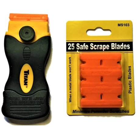 25 Plastic Double Edged Razor Blades and Titan Scraper