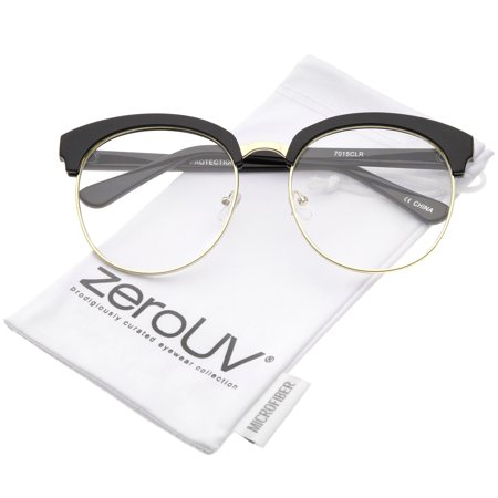 zeroUV - Oversized Flat Clear Lens Half Frame Semi-Rimless Round Glasses 58mm - 58mm Vintage-inspired and stylish, these oversized round glasses feature a half frame design with thin metal trim, horn rimmed details, and flat clear lenses. Finished with a sleek metal nose bridge and stylish high sitting temples, these round glasses are the perfect accessory to complete any style. Made with a plastic and metal based frame, English style nose pieces, metal hinges, and polycarbonate UV400 clear lenses.