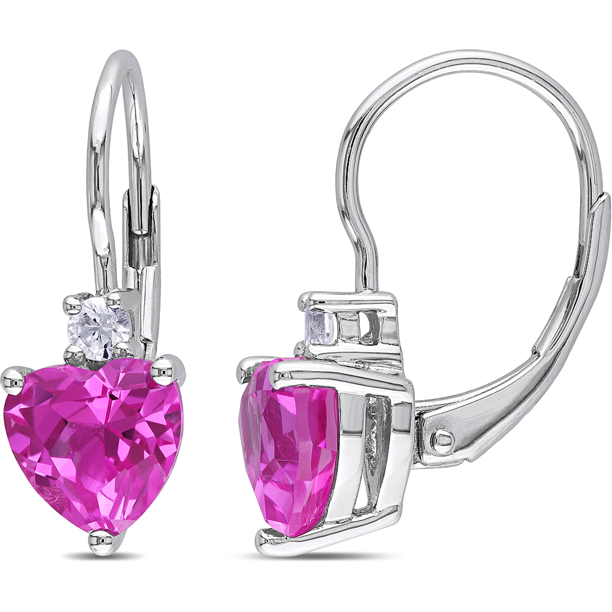 3-1/5 Carat T.G.W. Created Pink and White Sapphire Sterling Silver Leverback Heart Earrings