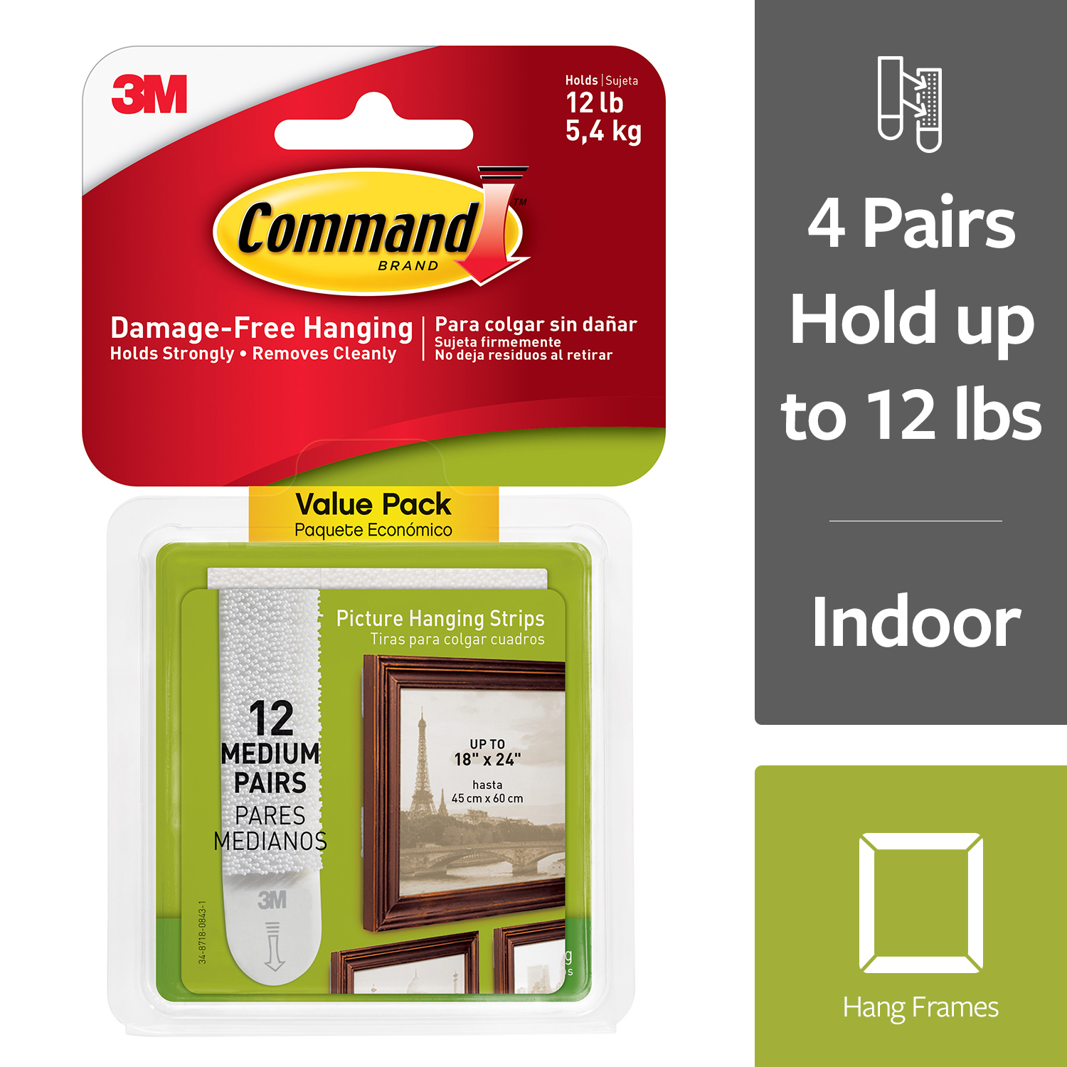 Command Damage-Free Medium Picture Hanging Strips, White, 4 pairs hold 12 pounds, Decorate without Tools, 12 Pairs (24 Strips), Hangs 3-6 frames (17204-12ES)