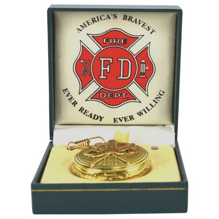 Men's Solid Brass Fire Department Pocket Watch Ornate FD Open Face w/ Mens - Fake Pocket Watch