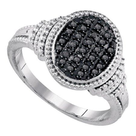 Sterling Silver Womens Round Black Colored Diamond Oval Cluster Ring 1 4 Cttw