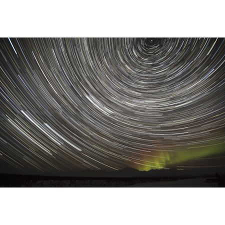 Star Trails and Northern Lights above Denali (Mt McKinley) and the Alaska Range from Denali Viewpoint South along the Parks Highway Denali State Park Southcentral Alaska Winter Stretched Canvas - (By The Light Of The Northern Star)