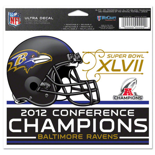 NFL - Baltimore Ravens 2012 AFC Conference Champions 4x6 Ultra Decal