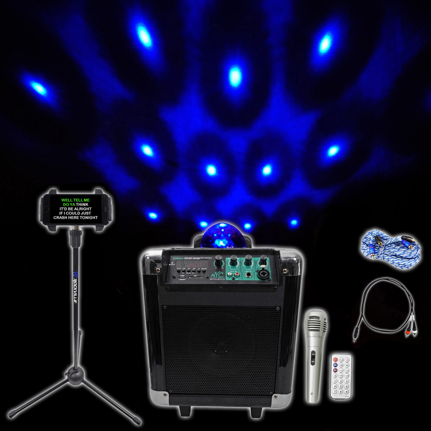 "NYC Acoustics 6.5"""" Karaoke Machine System 4 ipad iphone Android Tablet+Lights ! by NYC ACOUSTICS"