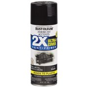 (3 Pack) Rust-Oleum American Accents Ultra Cover 2X Gloss Black Spray Paint and Primer in 1, 12 oz