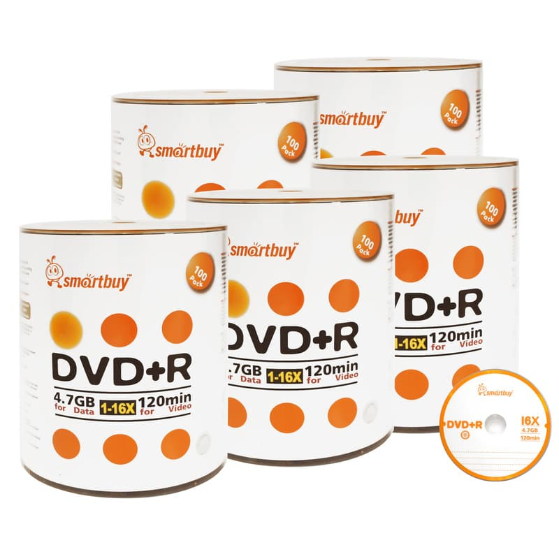 500 Pack Smartbuy 16X DVD+R DVDR 4.7GB Logo Top (Non-Printable) Data Video Blank Recordable Disc