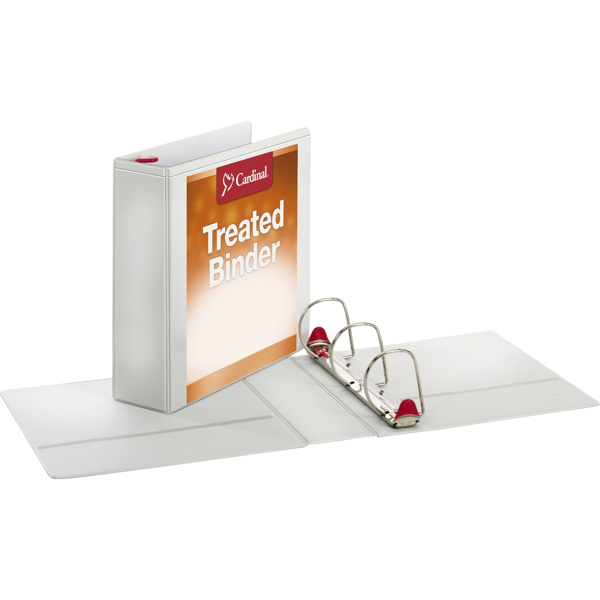 """Cardinal Treated Binder ClearVue Locking Slant-D Ring Binder, 3"""" Cap, 11 x 8 1 2, White by TOPS Products"""