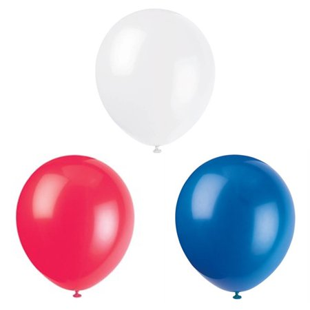 Patriotic Latex Balloons, Red White and Blue, 12in, 4-Pack (40 Balloons)