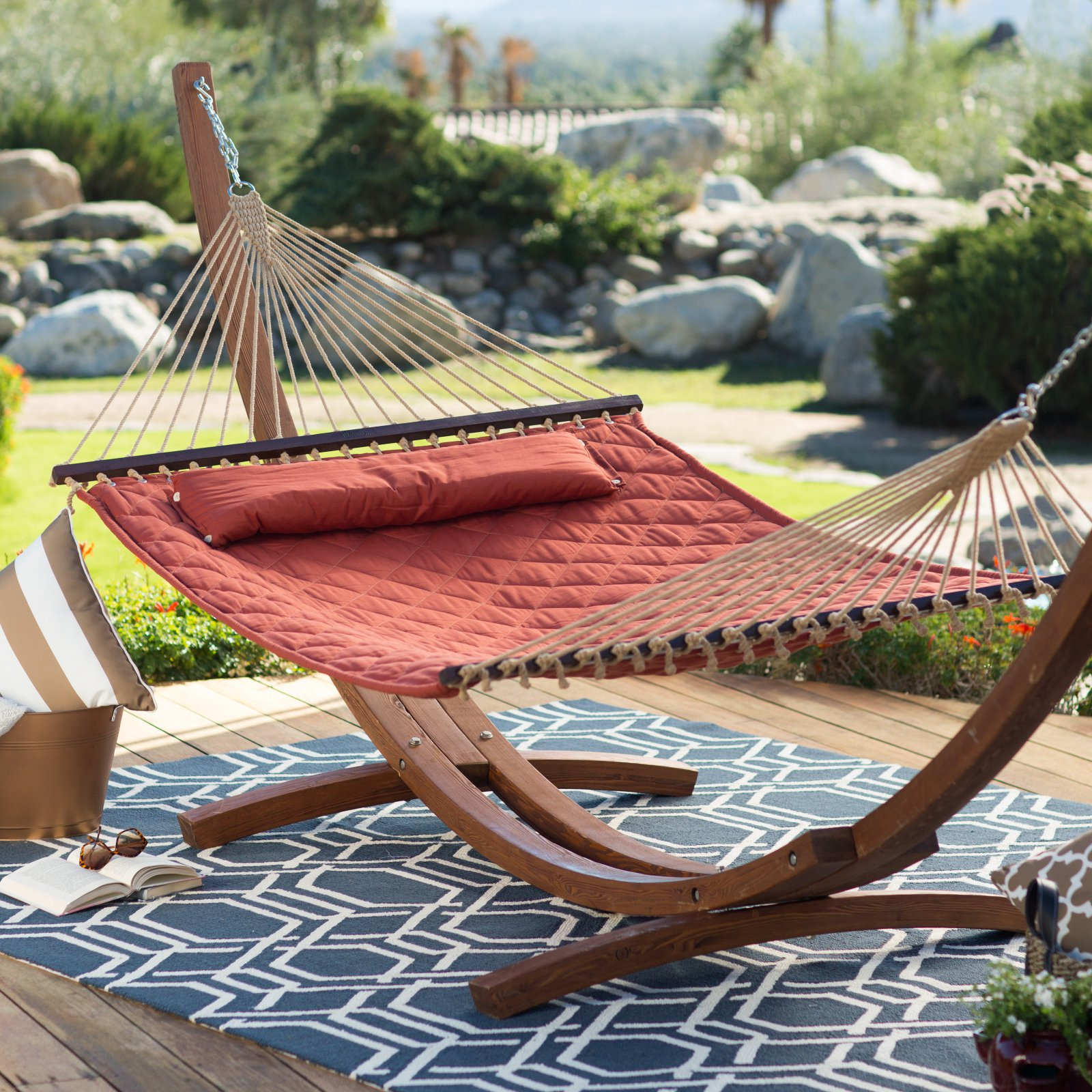 Coral Coast 13 ft. Sienna Diamond Stitch Quilted Hammock with Russian Pine Stand