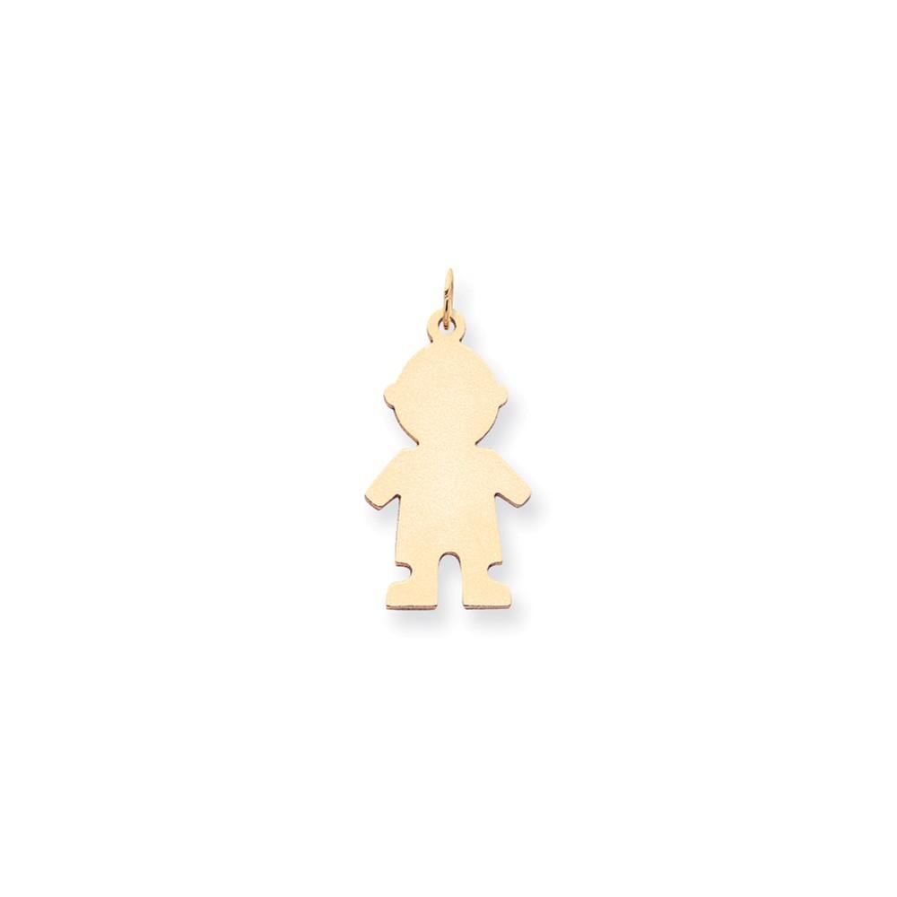 14k Yellow Gold Plain Medium 0.018 Gauge Engravable Boy Charm Pendant