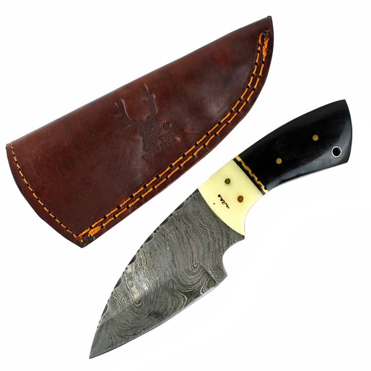 "TheBoneEdge 7"" Damascus Hunting Knife Fixed Blade Full Tang Black Horn & Knife with Sheath"