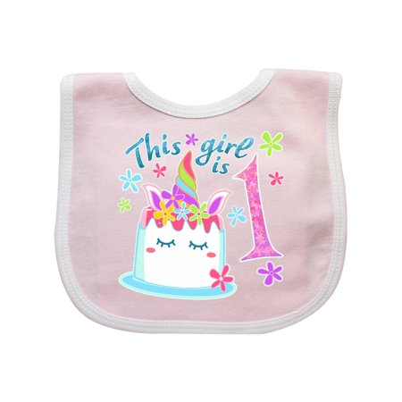 This Girl is One- unicorn birthday cake Baby Bib Pink/White One Size - 1 Girl 1 Cake