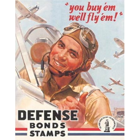 Defense Bonds Stamps - Fly'em Tin Sign, 12.5 x 16 By Tin Signs