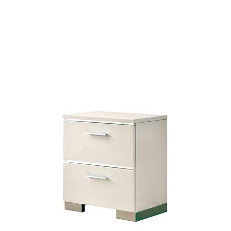 Furniture Of America Quaker White High Gloss 2 Drawer Nightstand
