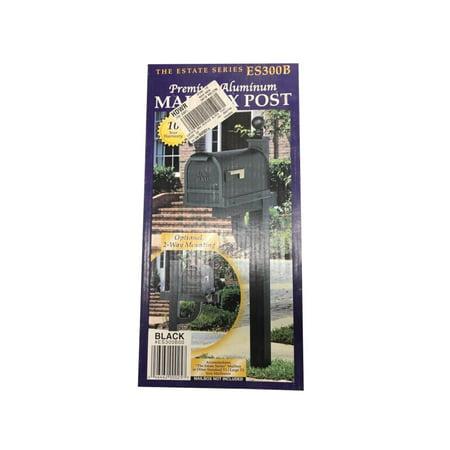 The Estate Series ES300B Premium Aluminum 2-Way Mounting Mailbox Post, Black ()