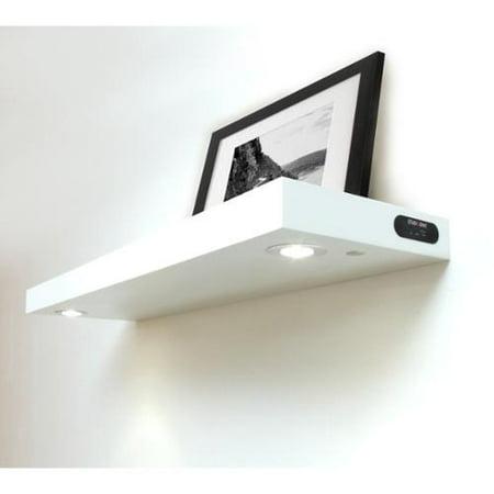 Lewis Hyman, Inc Lewis Hyman Wall Mounted White Floating Shelf with 2-LED  Lights