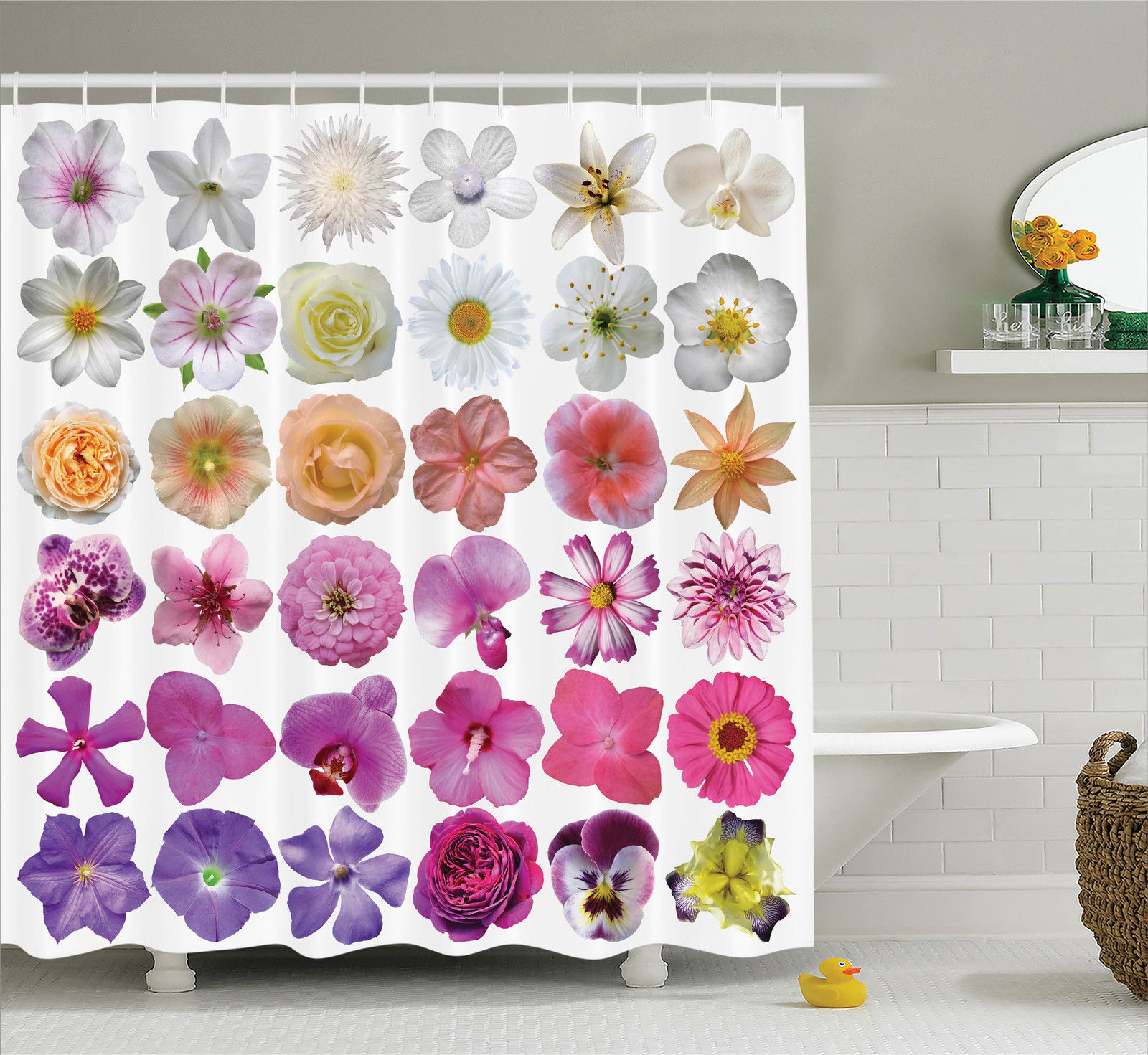 Flower Decor Shower Curtain Set, Pattern Of Various Vase Flowers Petunia Botanic Wild Orchid Floral Nature Art Decor, Bathroom Accessories, 69W X 70L Inches, By Ambesonne