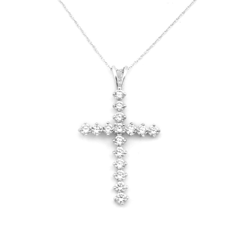 """14k White or Yellow Gold Cubic Zirconia Large Cross Pendant Necklace 13"""" 15"""" 16"""" 18"""" 20""""... by"""