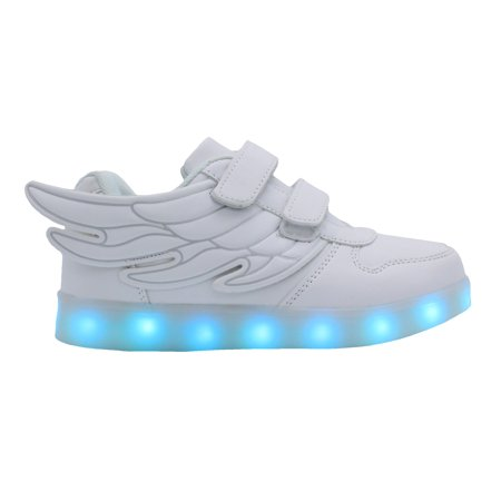Galaxy LED Shoes Light Up USB Charging Low Top Wings Kids Sneakers (White)](Leg Shoes)