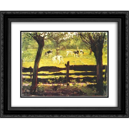 Willow Border - Piet Mondrian 2x Matted 24x20 Black Ornate Framed Art Print 'Calves in a Field Bordered by Willow Trees'