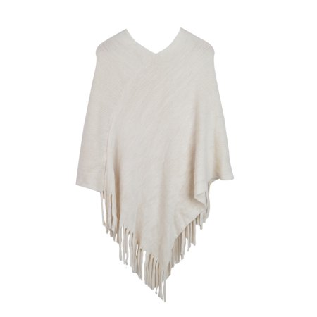 Premium Solid Color Soft Knit Winter Fringe Poncho Shawl Wrap Cape (Shawl With Fringe)
