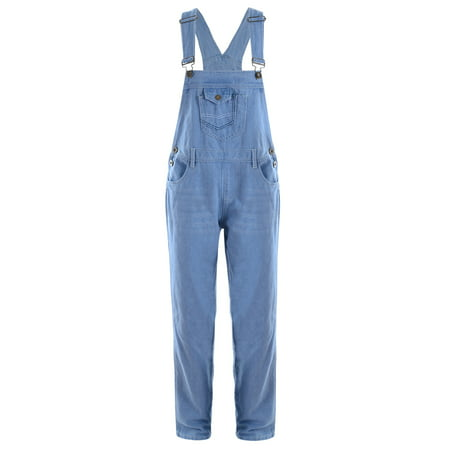 Denim Vintage Overalls - Anna-Kaci Womens Blue Denim Jean Straight Leg Distressed Pocket Bib Overalls