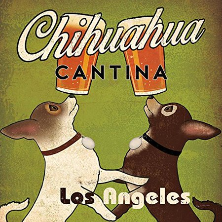 Double Chihuahua Cantina Brew Los Angeles by Ryan Fowler 12x12 Beer Signs Dogs Animals Art Print Poster Vintage
