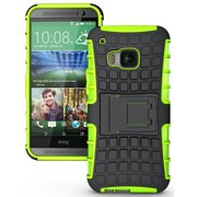 NAKEDCELLPHONE'S NEON LIME GREEN GRENADE GRIP RUGGED SKIN HARD CASE COVER STAND FOR HTC ONE M9 PHONE (Verizon, Sprint, AT&T, T-Mobile, Unlocked, One M9 2015)
