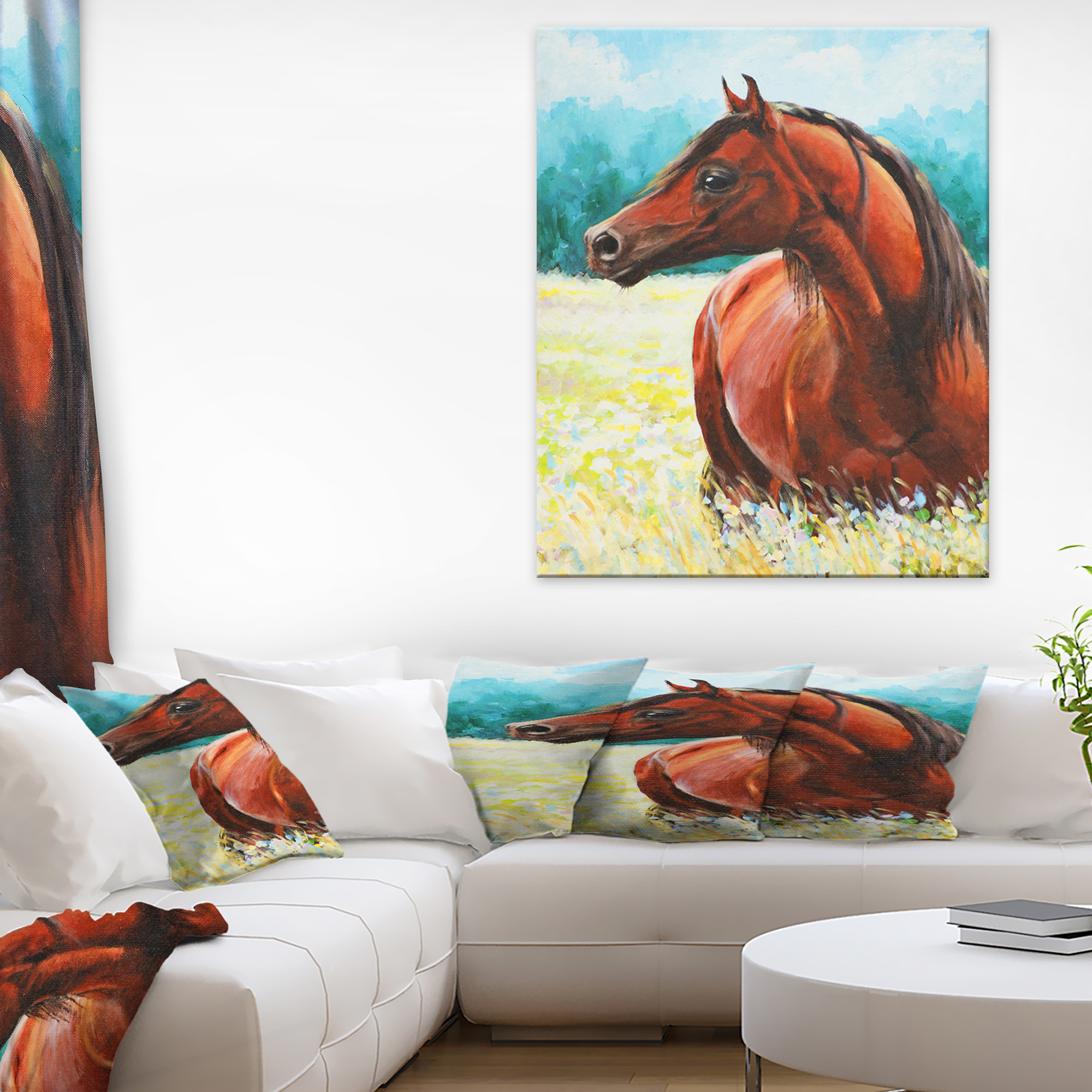Brown Arabian Horse Painting Abstract Canvas Art Print Walmart Canada