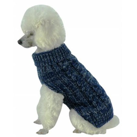 Classic True Blue Heavy Cable Knitted Ribbed Fashion Dog Sweater - image 1 de 1