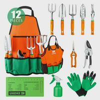 Garden Tools Set, UKOKE 12 Piece Aluminum Garden Tool Kit, Gardening Apron with Storage Pocket, Gardening Tool Set for Women Men, Garden Tools, Gardening Tools