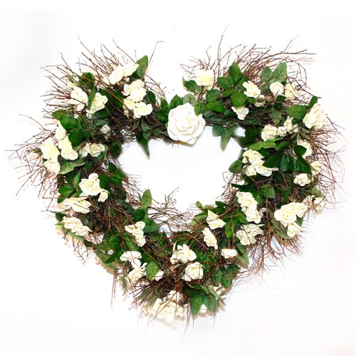 August Grove Heart 22'' Silk Rose Wreath