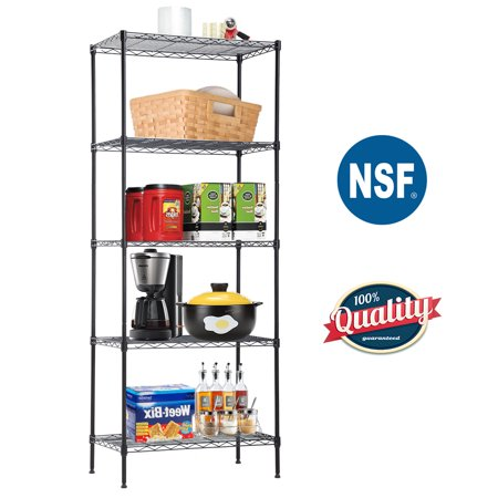 "5-Wire Shelving Unit Steel Large Metal Shelf Organizer Garage Storage Shelves Heavy Duty NSF Commercial Grade Utility Storage Metal Layer Rack For Garage Kitchen Office 14""D x 24""W x 60""H,Black Large Heavy Duty Metal"
