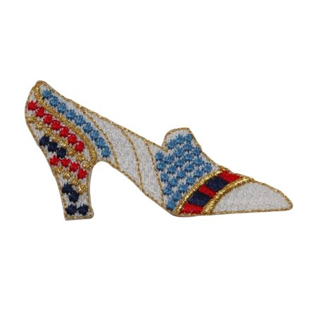 ID 7767 Spotted High Heel Patch Shoe Fashion Slip Embroidered Iron On Applique