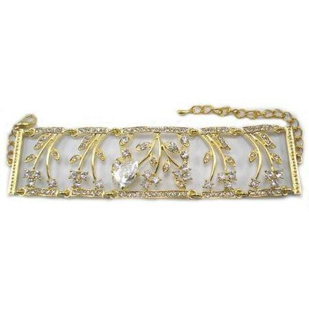Clear On Gold Teardrop Stone 7Inch Plus 2 Extender Crystal Bracelet Silver Tone Clear Small Stone Bracelet