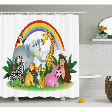 Wildlife Shower Curtain, Illustration of Cartoon Animals Under Rainbow Gorilla Hippo Zebra Childhood Theme, Fabric Bathroom Set with Hooks, 69W X 70L Inches, Multicolor, by (Hippo Fabric)