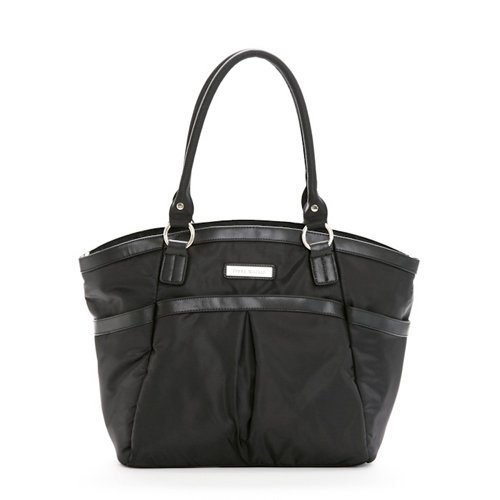 Perry Mackin Harper Water Resistant Nylon Diaper Bag with Genuine Leather Trim, Black