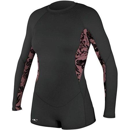 O'Neill Women's Skins Long Sleeve Surf Suit Black/Luna/Black  sz 6 (Sleeve Skin Suit)