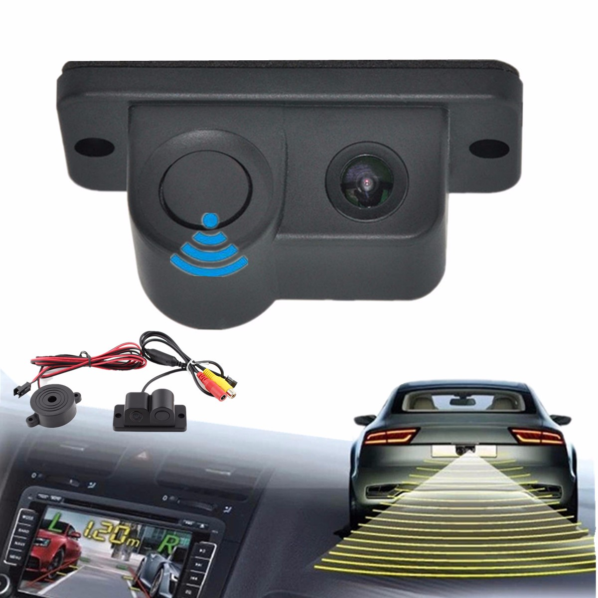2in1 170º Car SUV Reverse Parking Radar Sensor w/ Rear View Backup Camera Kit DC with bibi Sound Alarm