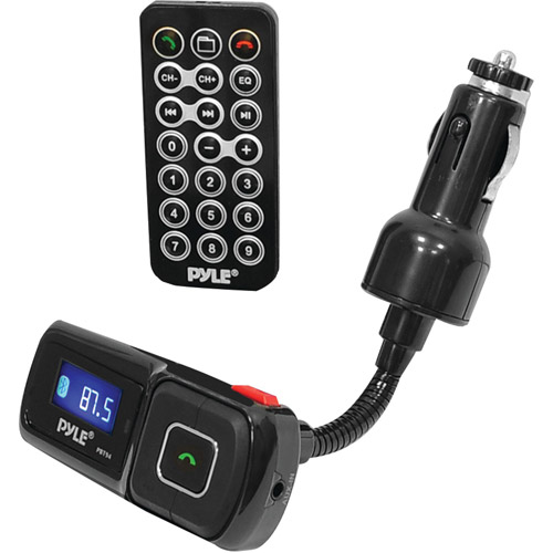 Pyle PBT94 Bluetooth FM Radio Transmitter with USB Flash and microSD Card Readers for MP3/WMA Playing, USB Charging Port and Aux Input