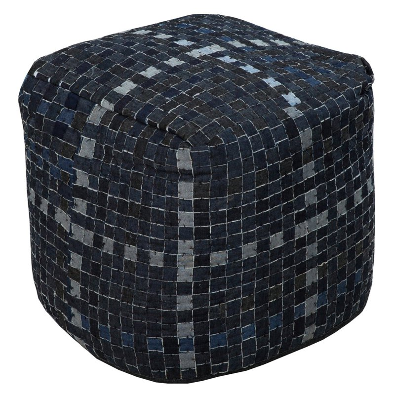 Surya 18 in. Checkered Cube Cotton Pouf by Surya