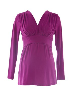 OLIAN Maternity Women's Nursing Empire Waist Tunic Top X-Small Magenta
