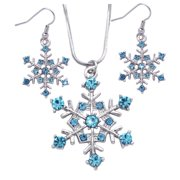 cocojewelry Snowflake Pendant Necklace Earrings Set Bridesmaid Christmas Holiday Jewelry