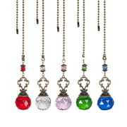 Ceiling Fan Crystal Pull Chain Extender with Chain Connector Home Wedding Decor Ornament Pendant