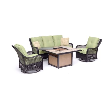 Hanover Orleans 4-Piece Woven Lounge Set in Avocado Green with 2 Woven Swivel Gliders, Sofa, and 40,000 BTU Tile-Top Fire Pit Table ()