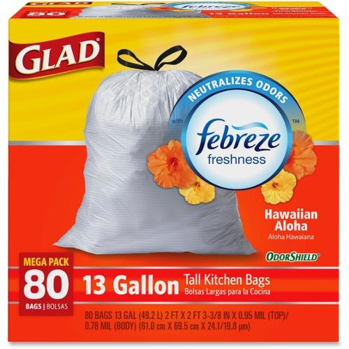 Glad OdorShield Aloha Scent 13-gal Trash Bags - 13 gal - White - Plastic - 1Each - Kitchen