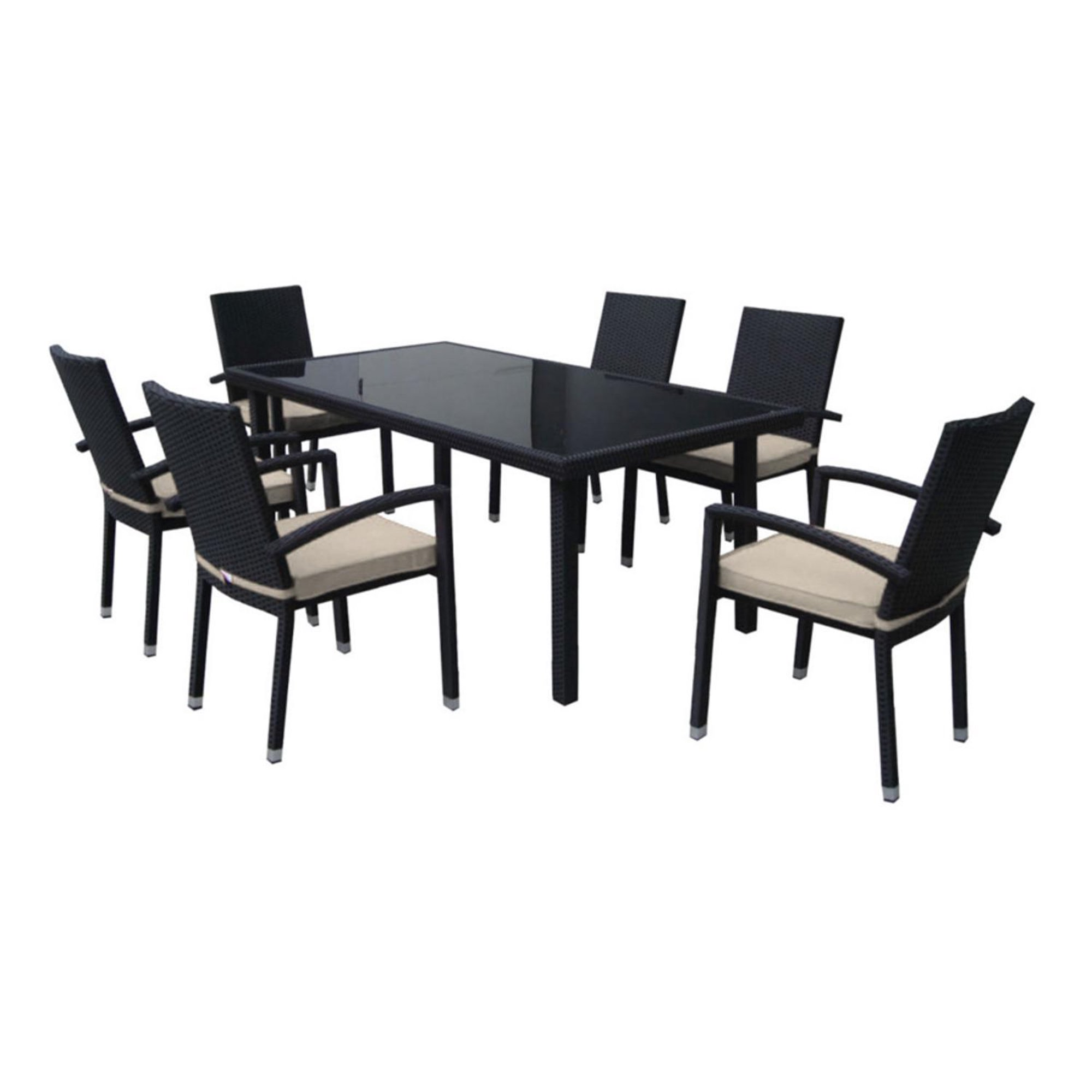 Stupendous 7 Piece Black Resin Wicker Outdoor Furniture Patio Dining Onthecornerstone Fun Painted Chair Ideas Images Onthecornerstoneorg