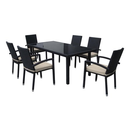 7-Piece Black Resin Wicker Outdoor Furniture Patio Dining Set - Beige Cushions